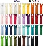 Lot de 39fermetures éclair Jajasio avec assortiment de couleurs, 12cm
