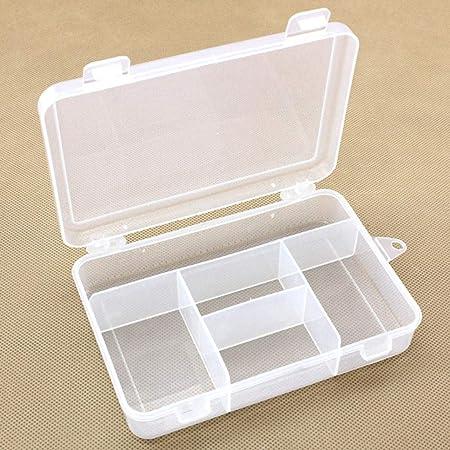 Enticerowts - Caja de plástico con 5 Compartimentos a Prueba de Polvo para Guardar Joyas y Joyas, Caja de plástico, Onecolor, Small: Amazon.es: Hogar