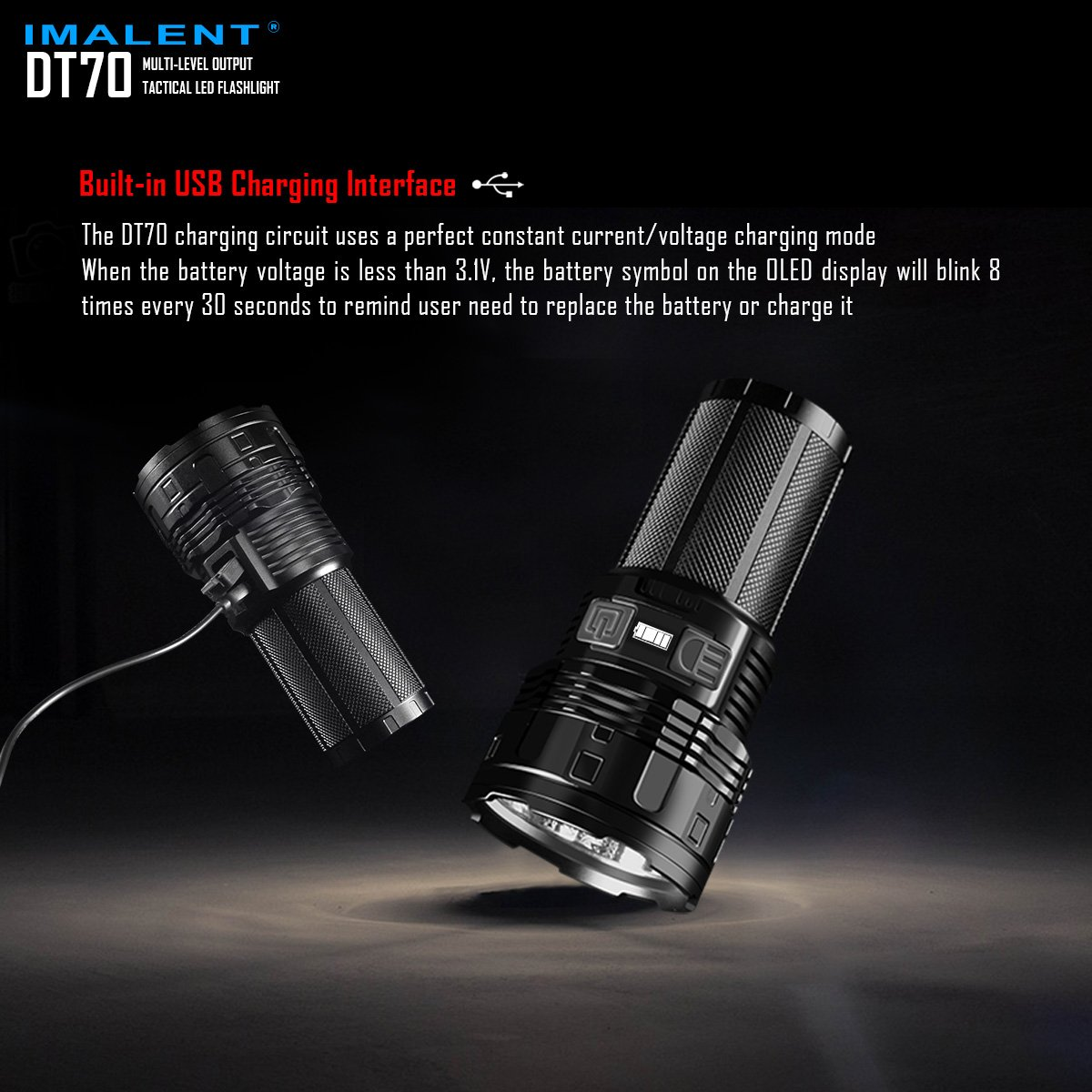 IMALENT DT70 Flashlights High Lumens Rechargeable 16000 Lumens 4 Pcs CREE XHP70 LEDs, Portable Handheld Torch by IMALENT (Image #4)