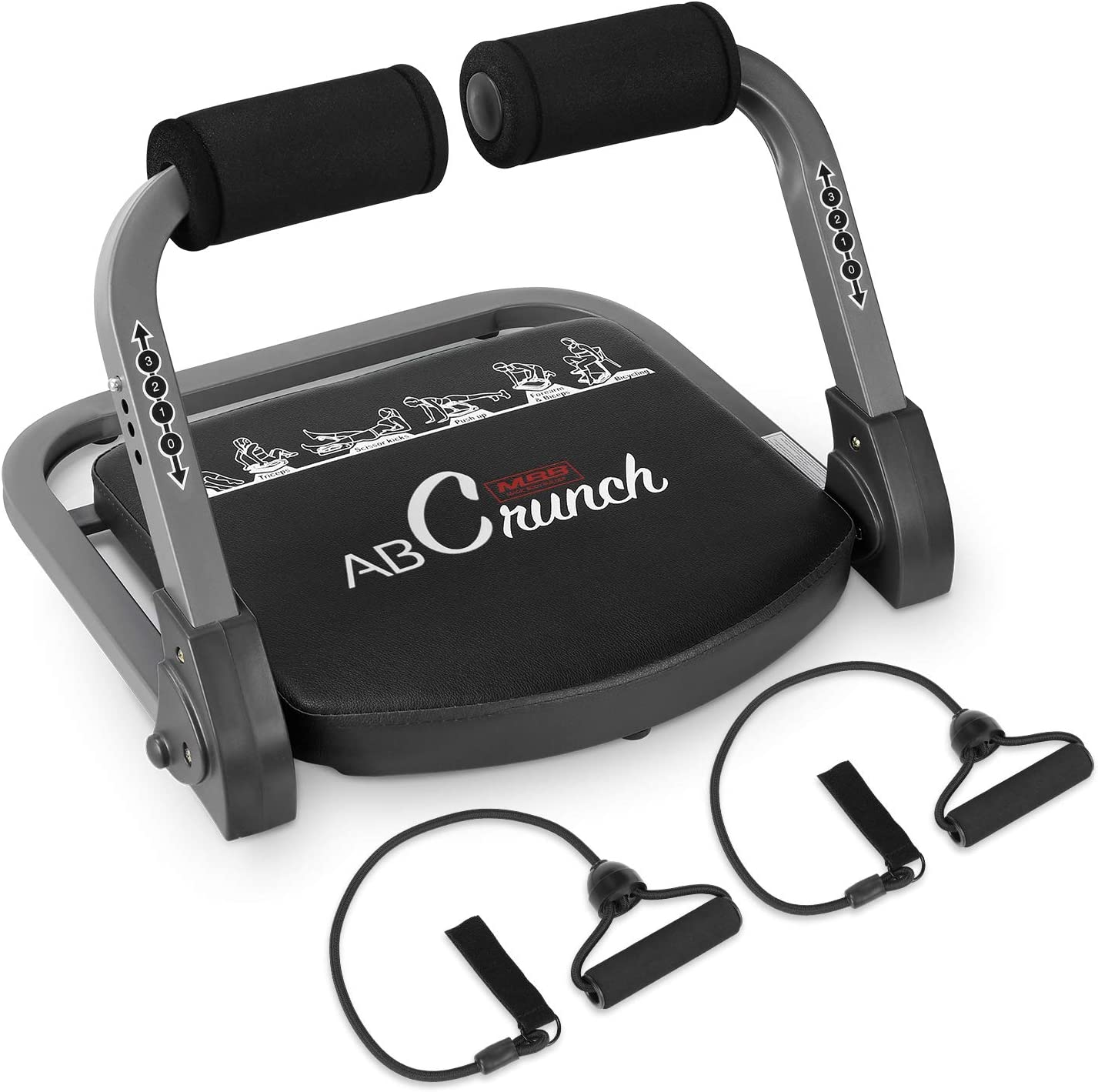 femor Core & Abs Exercise Trainer, Total Body Muscle Building Crunch Training Machine, Home Gym Fitness Equipment for Strength Training with Resistance Bands & Workout Guide
