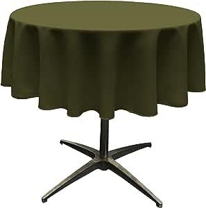 "LA Linen Polyester Poplin Round Tablecloth, 58"", Olive"