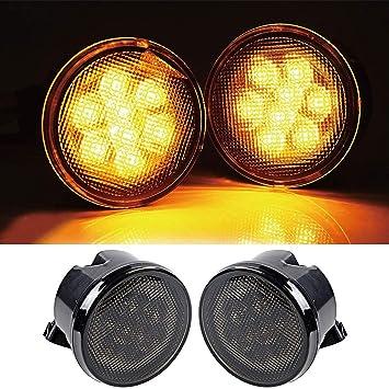 Paquete de 2 Luces ámbar de señal de Giro Luces LED Humo Parrilla Delantera para Jeep Wrangler JK TJ