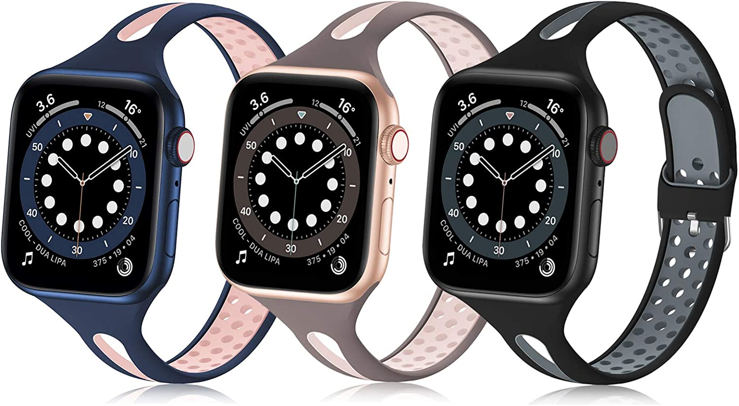 Bandiction Compatible with Apple Watch Bands 38mm 40mm 42mm 44mm, Silicone Sport Bands for iWatch Bands Women Men Thin Slim Narrow Breathable Replacement Strap for iWatch SE Series 6/5/4/3/2/1, 3 Pack
