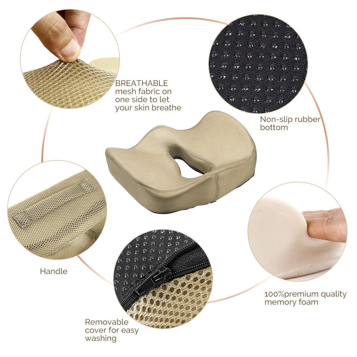 Seduta Dolore al Nervo sciatico Argento Sedia da scrivania Postura Parte Inferiore della Schiena NEOtech Care Cuscino per Seduta Sollievo a Pressione 100/% Memory Foam ergonomico