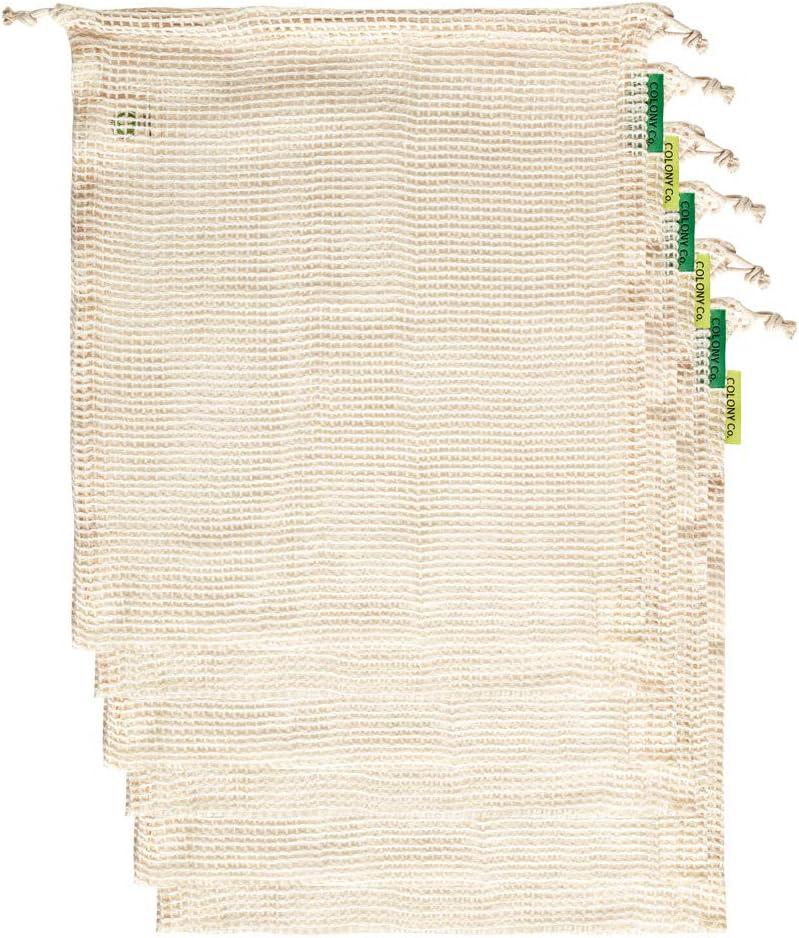 Colony Co. Bolsas Reutilizables de Frutería, Malla de Algodón Biodegradable, Lavables a Máquina, Tara en la Etiqueta, Paquete de 6 Medianas (33x28cm), Nuestro Envases es Reciclable, Zero Waste
