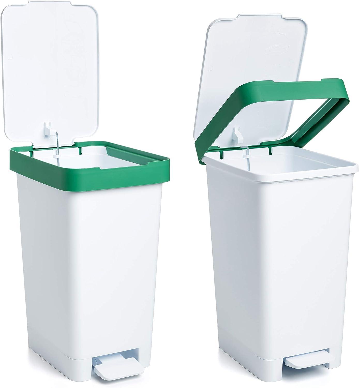 Tatay Cubo de Basura para Reciclaje Blanco y Amarillo Mediano