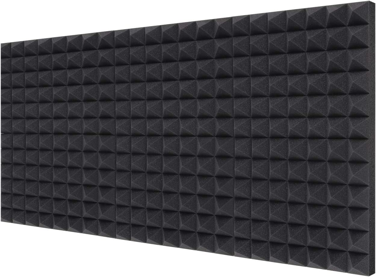 "Acoustic Foam Panels 6-Pack 2"" X 12"" X 16"", Ohuhu Uncompressed Pyramid 2 Inch Thick Sound Absorbing Dampening Wall Foam Acoustic Treatment"