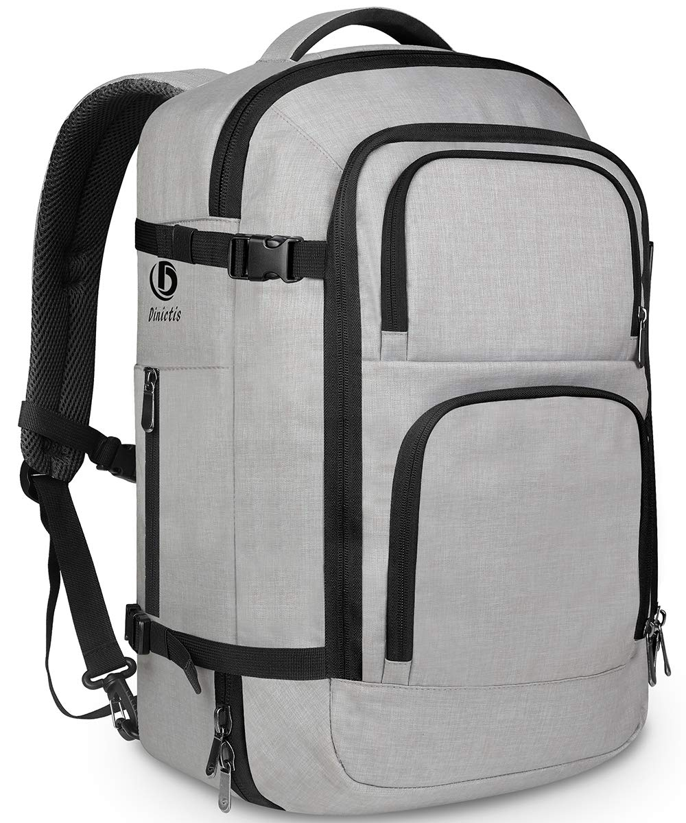Dinictis 40L Flight Approved Travel Backpack, Waterproof Business Carry on Backpack fit 15.6 Inch Laptop, Durable Weekender Bag for Men and Women(Grey)