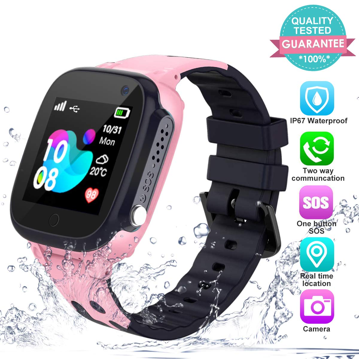 Kids Smart Watch Phone Waterproof with GPS Tracker SOS Anti-Lost Watch Touch Screen Camera Smart Watch for 3-12 Years Old Boys Girls (Pink)