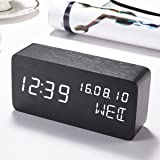 WISEWO Wooden LED Digital Desk Alarm Clock, Electronic Alarm Clock 3 Set of Alarm, 3 Brightness Adjustable Sound Control, Displays Time Date Temperature, Cube Travel Alarm Clock for Kid, Home, Office, Heavy Sleeper Black&White