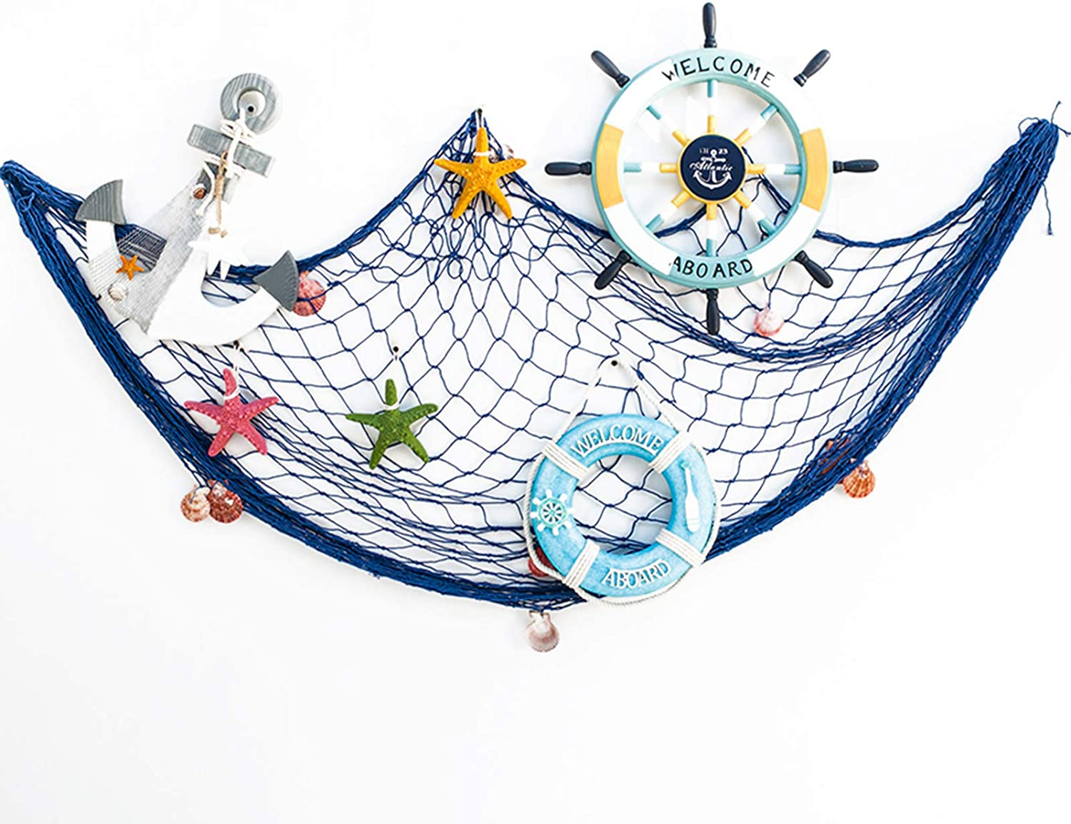 SUPERFINDINGS Decorative Fishing Net Wall Decor with Seashells Beach Theme Decor for Party Home Bedroom Mediterranean Style Nautical Decorative Blue