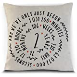 Petite Lili - 2 Years Throw Pillowcase Cushion Cover - Cotton Traditional Gift for 2 Years Anniversary (No Insert)
