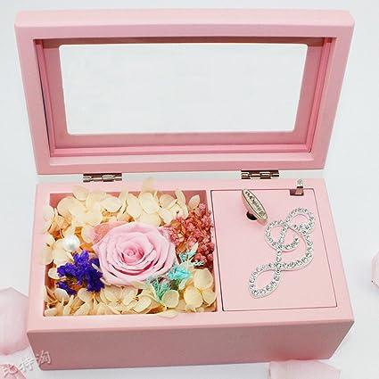 Caja musical Caja Musical de madera con flores eterna DIY rotulación regalo para niñas creativos cumpleaños
