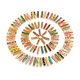 Outus Mini Colorful Wooden Craft Clips Photo Paper Peg, 100 Pieces