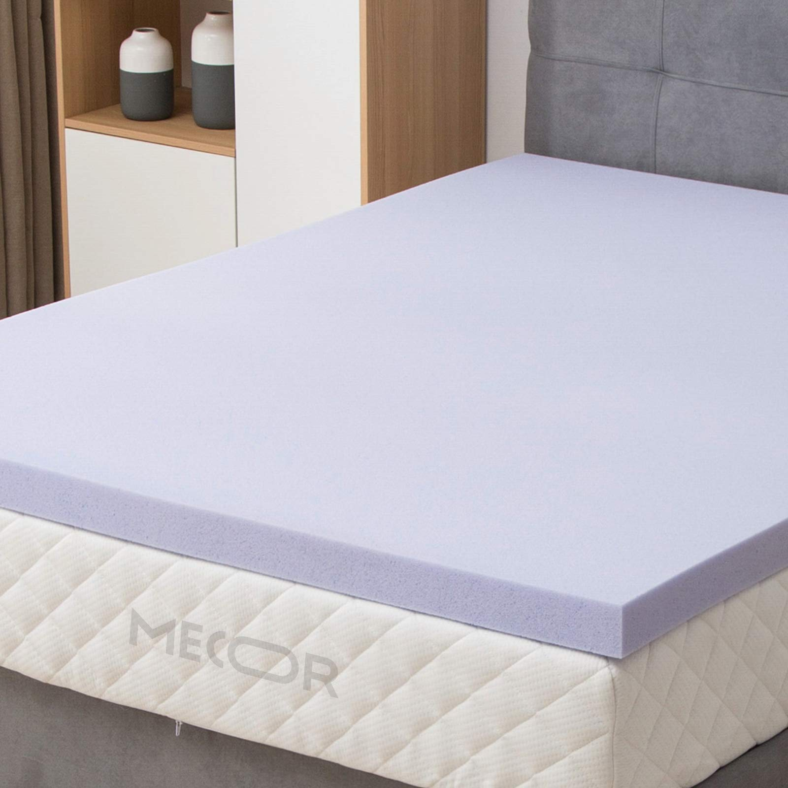 mecor 4'' 4 inch Queen Size Gel Infused Memory Foam Mattress Topper-Flat Design Bed Mattress Topper W/CertiPUR-US Certified Foam for Side, Back, Stomach Sleepers-Purple by mecor