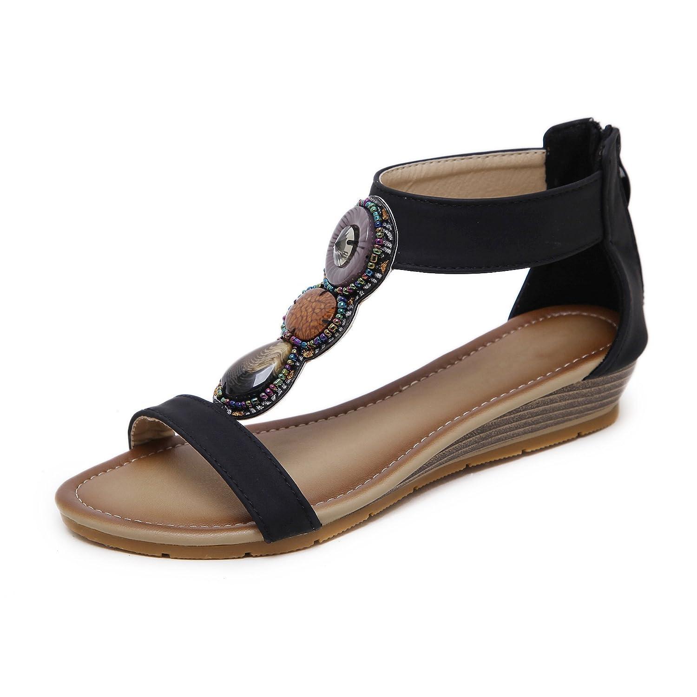 b77a6cd3cef9 HAINE in Damen Sandalen, 602 Frauen Sommer Bohemia HAINE Sandals, Beach  Elastische Schuhe in Größe 34-41, 3 Colors Schwarz 7073811