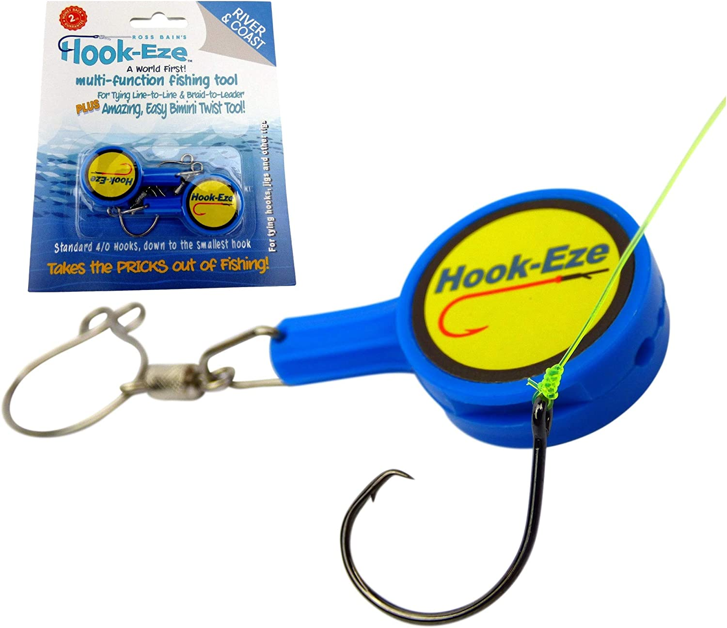 Hook-Eze Fishing Tool (Blue) Hook Tying & Safety Device + Line Cutter - Cover Hooks on 2 Poles & Travel Safely fully rigged. Multi function Fishing Device : Sports & Outdoors