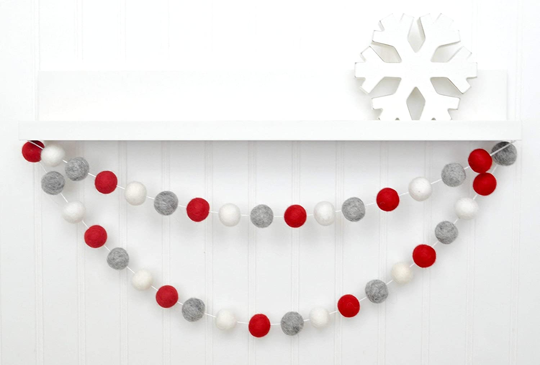 Felt Garland Christmas Christmas Tree Garland Pom Pom Garland SALE Wool Ball Garland Felt Ball Garland White Gray Felt Ball Garland