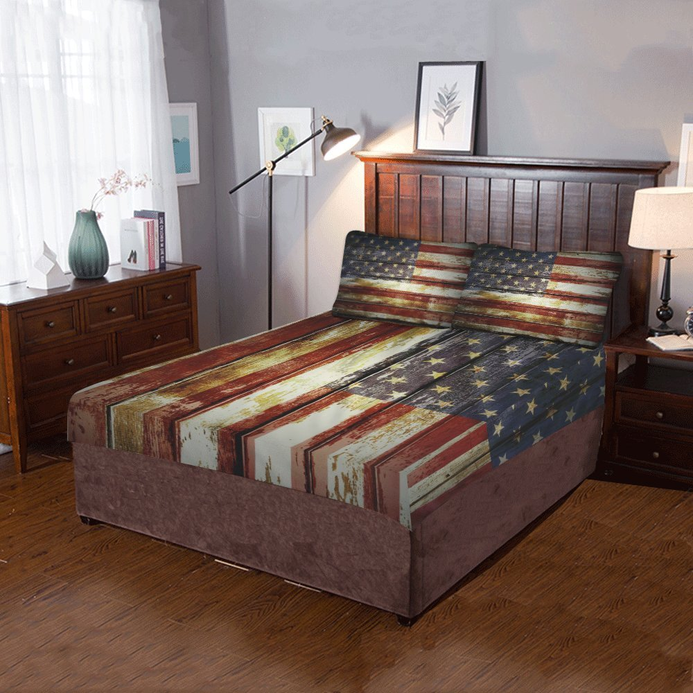 Artsadd Retro American Flag 3-Pieces Bedding Set Includ 1 Quilt Cover 86'' x 70'' 2 pillowcases 20'' x 30''