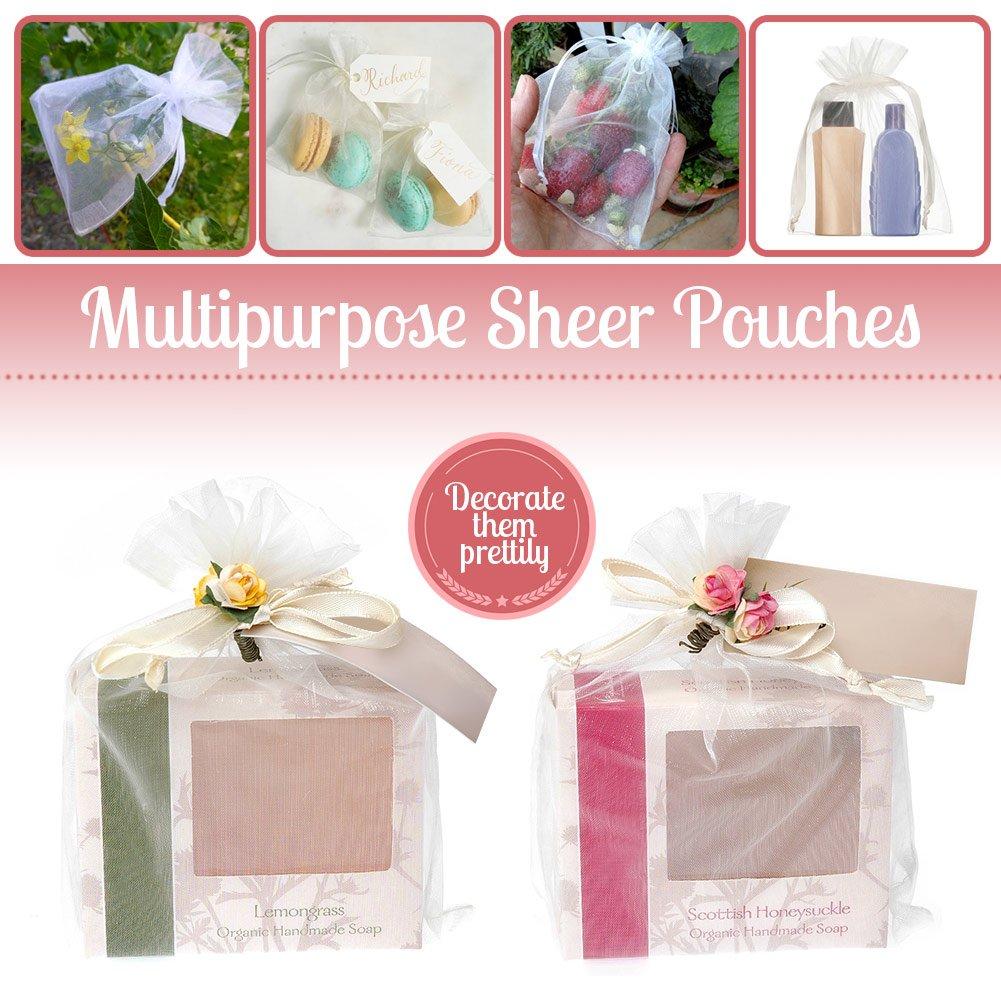 "Amazon.com: WP Favor Bags | 100pcs 4"" x 6"" Drawstring Organza Gift ..."
