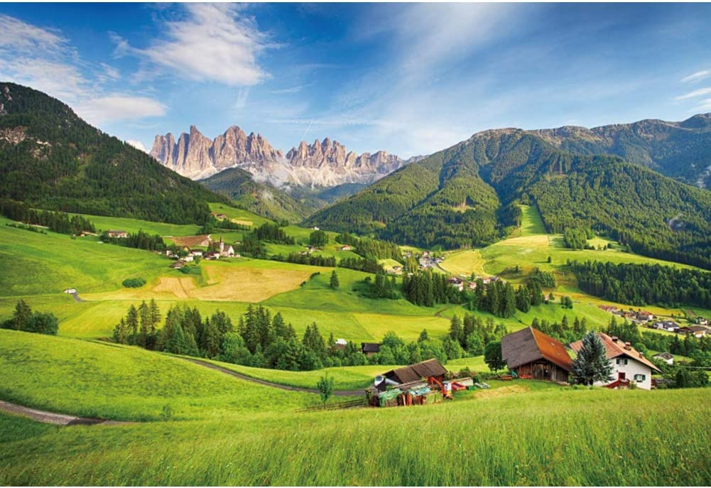CSFOTO 10x8ft Itay Dolomites Alps Mountain Backdrop Countryside Green Field Village Landscape Natural Scenery Banner Interior Decor Background Adults Kids Photo Booth Studio Props