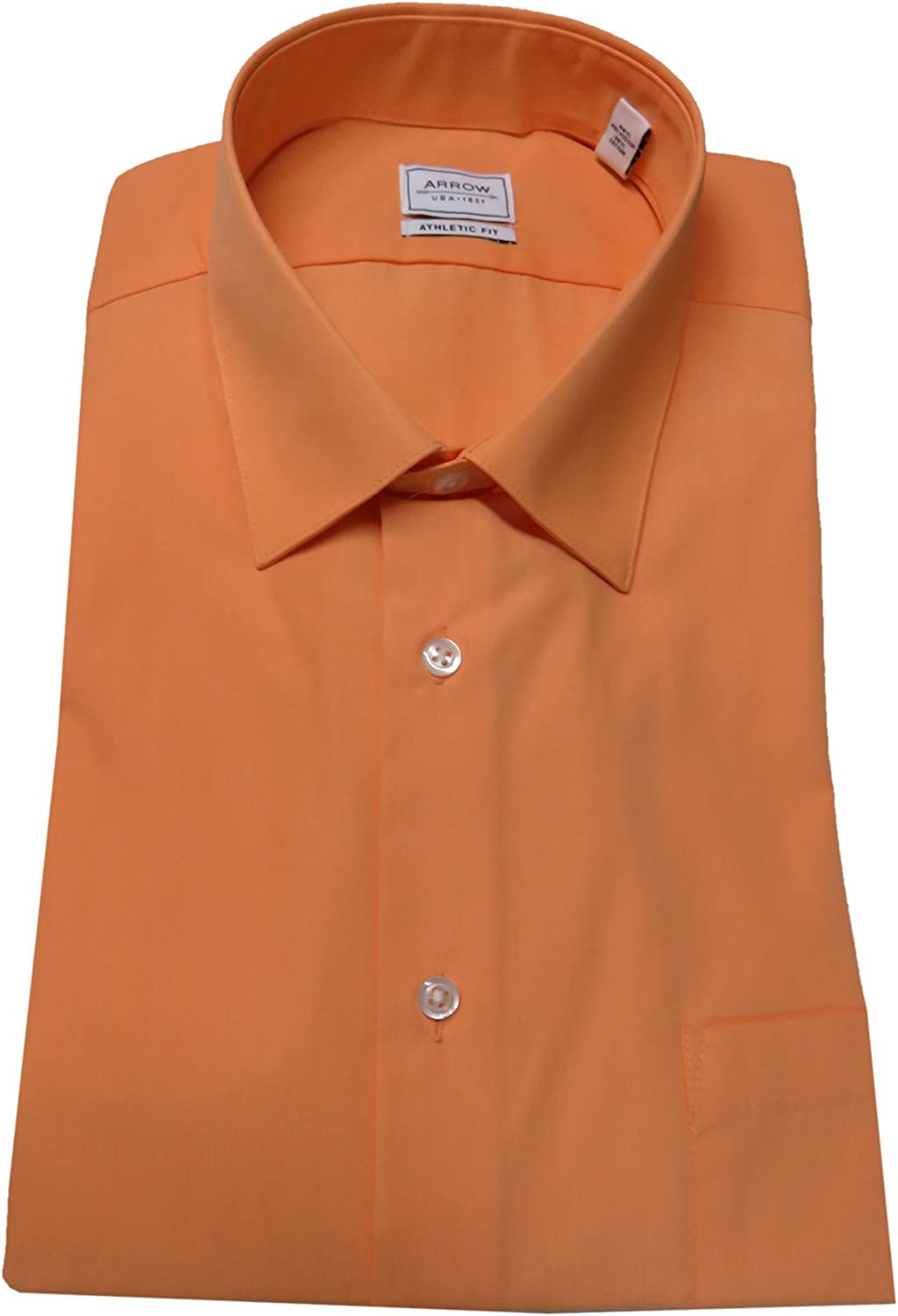 Size 15-15 1//2-32//33 Arrow Mens Athletic Fit Shirt Canela//Orange