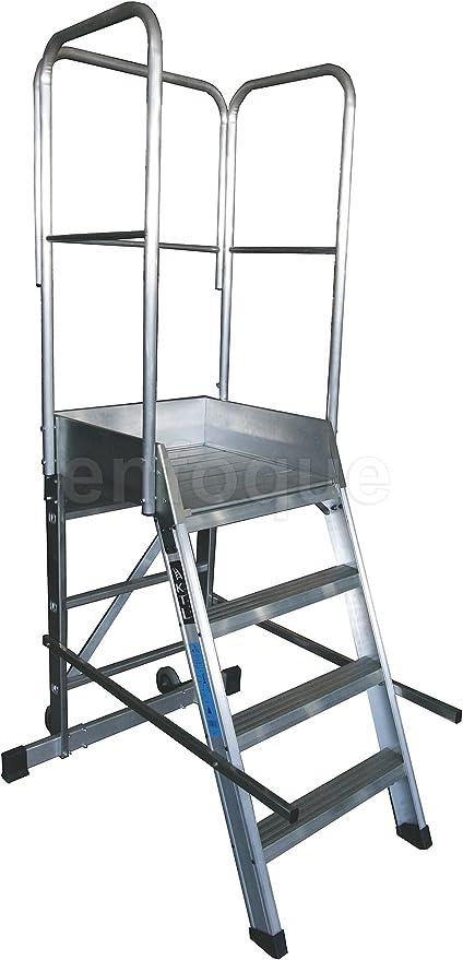 Escalera profesional de aluminio un acceso con plataforma de trabajo 4 peldaños 60x60 serie store 68º almacén: Amazon.es: Hogar