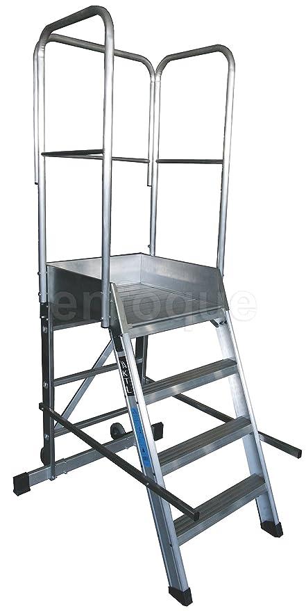 Escalera profesional de aluminio un acceso con plataforma de trabajo 4 peldaños 60x60 serie store 68º