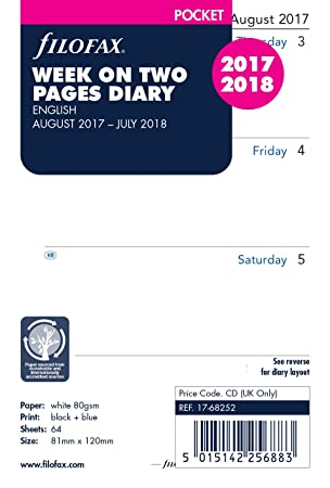 Agenda de bolsillo Filofax en dos páginas del 17 de agosto ...
