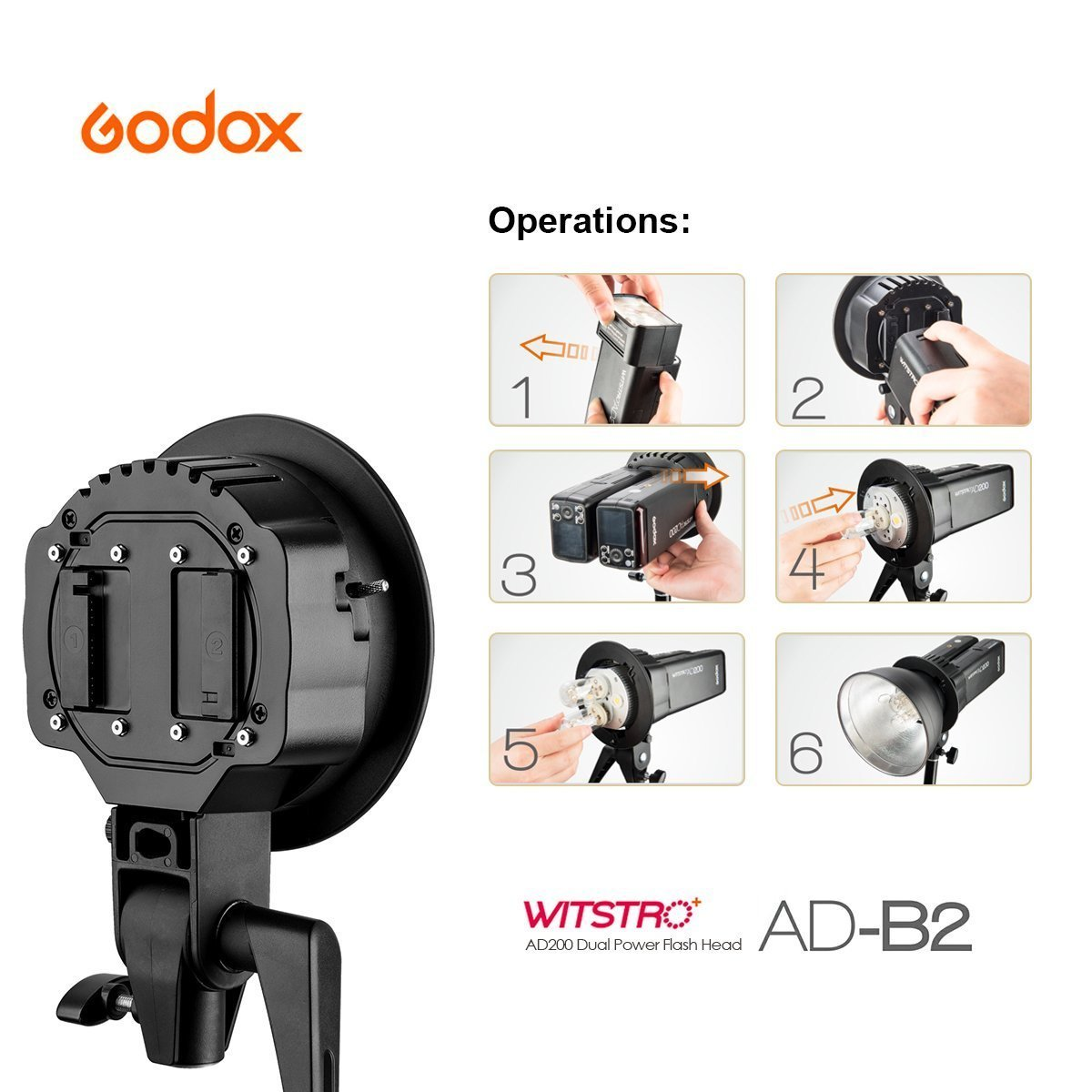 Godox AD-B2 Dual Tubes Light Head S-Type Bowens Mount Flash Light Head Holder Bracket Compatible Godox AD200 Speedlite Achieve 400W Power Output+CONXTRUE USB LED