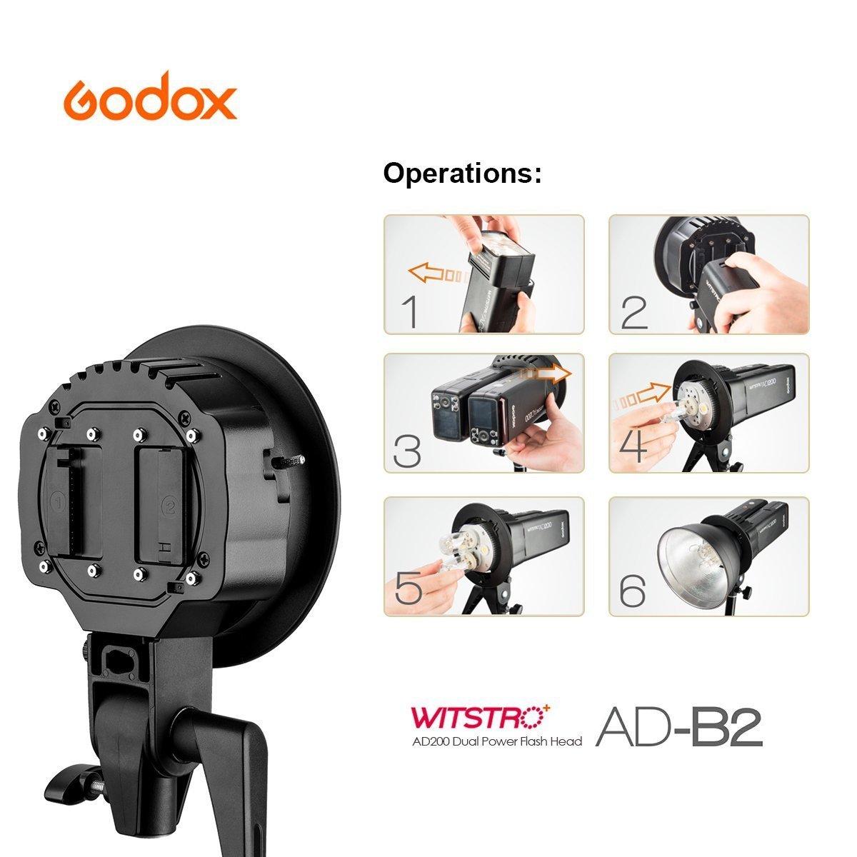 Godox AD-B2 Dual Tubes Light Head S-Type Bowens Mount Flash Light Head Holder Bracket for Godox AD200 Speedlite Ahieve 400W Power Output+CONXTRUE USB LED