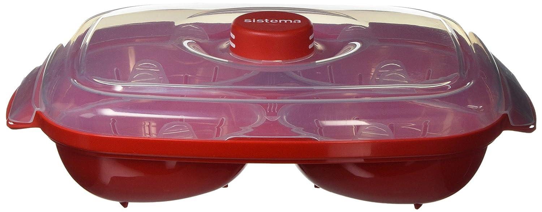 Sistema Apta para microondas escalfador de Huevos (para 4 Huevos, Rojo/Transparente