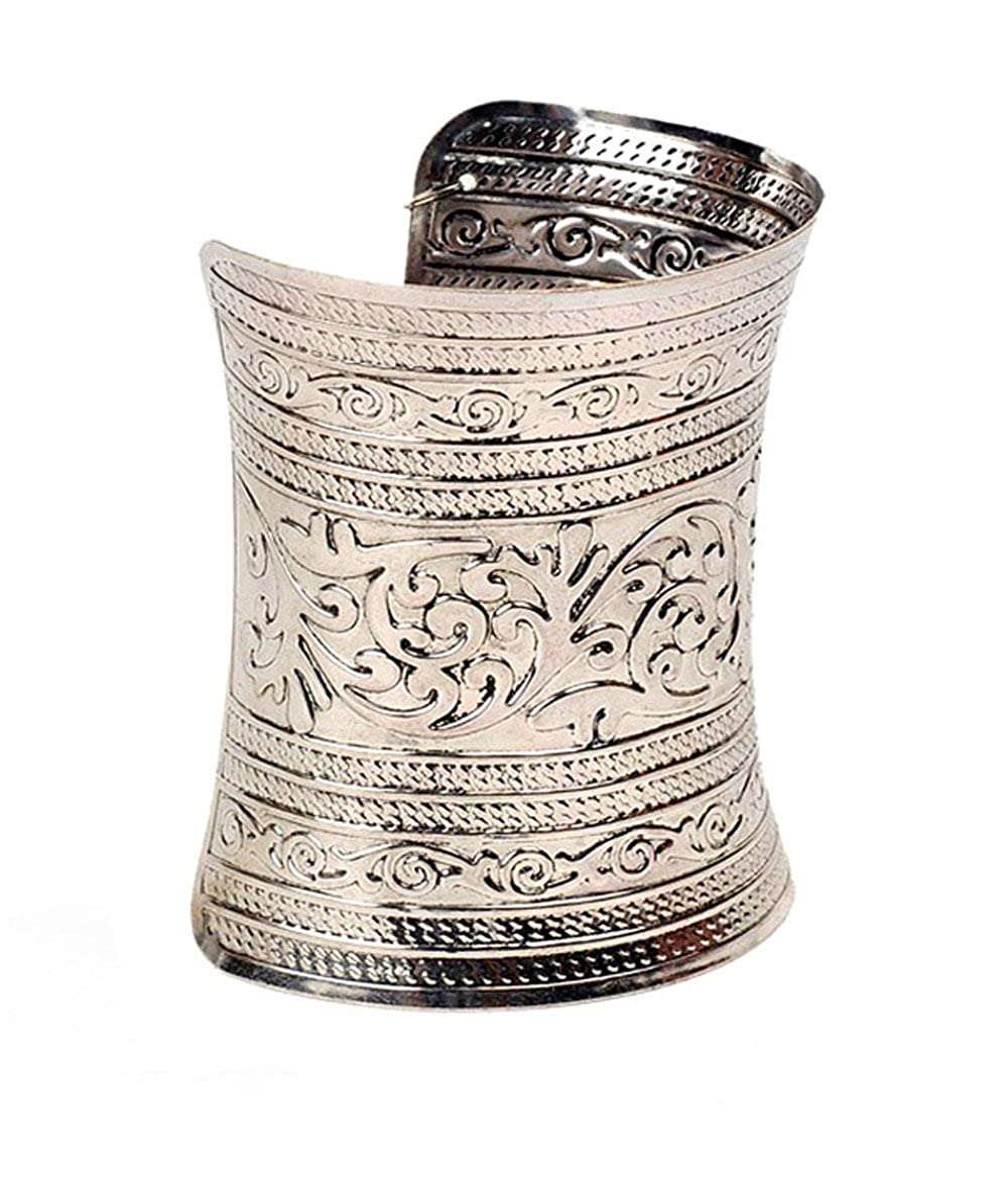 Cinderella Intricately Crafted Antique Silver Hand Cuff for Women (Metallic)(r4693b)