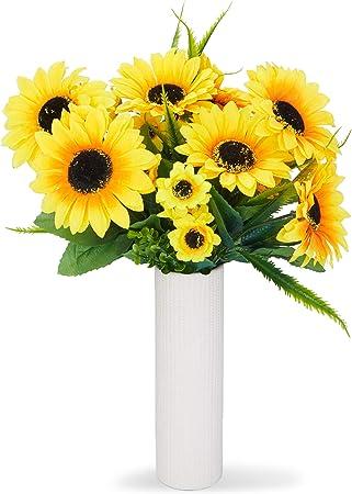 Fiori Gialli Per Bouquet.Juvale Bouquet Di Girasole Artificiali Finti Fiori Gialli Per La