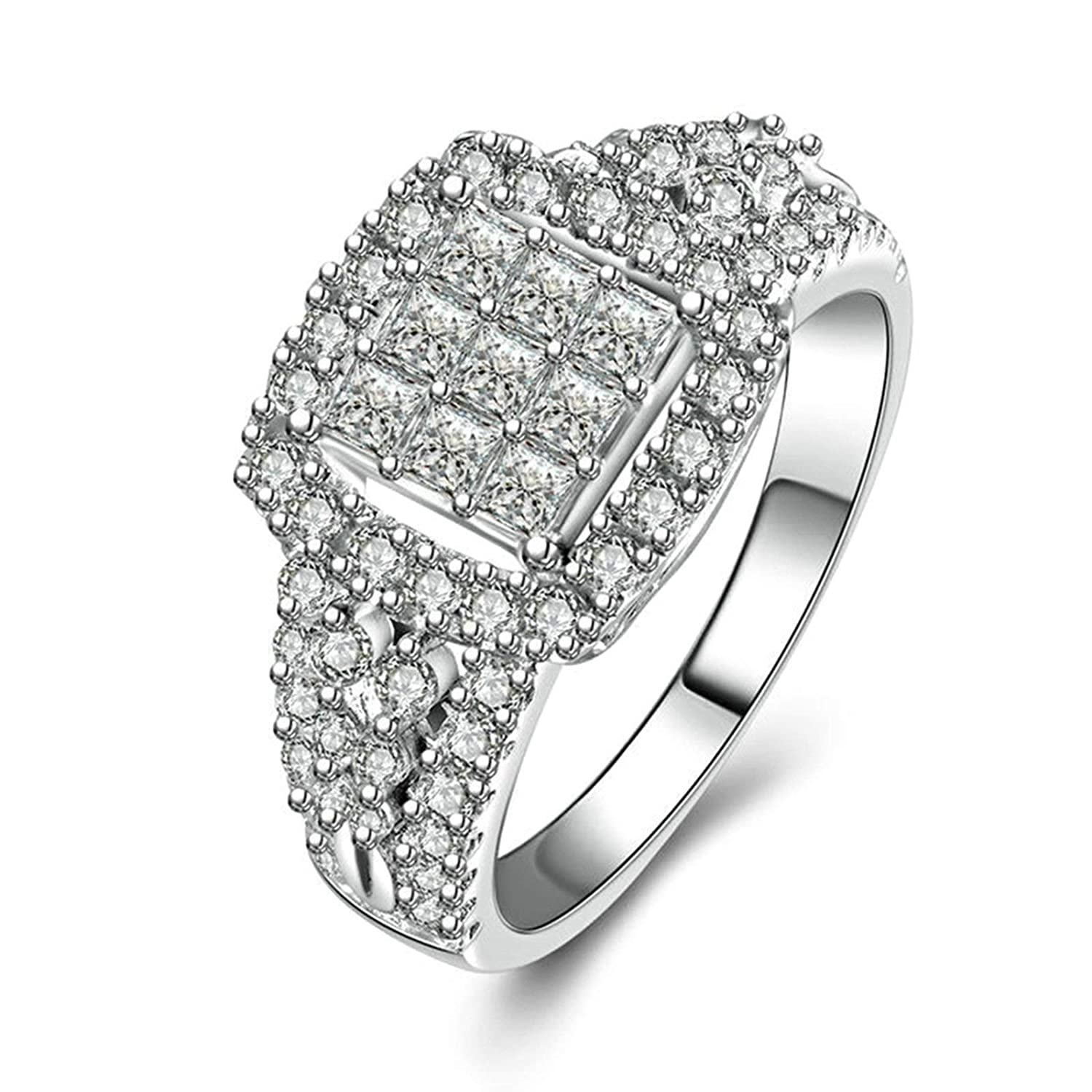 2850707dc741e Amazon.com: Aooaz Ring for Party Silver Material Ring Square ...