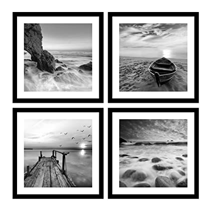 Englant 4 panels set framed canvas print for seascape beach and boat sunrise scenery black and