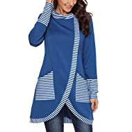 Asyoly Women Casual Cowl Neck Stripe Wrap Layered Long Sleeve Asymmetric Hem Pullover Sweatshirt Tunic Top with Pockets