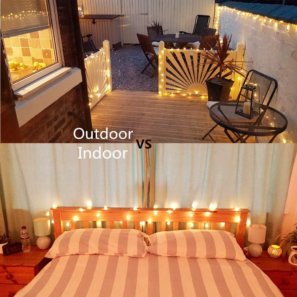 KNONEW 100 luces LED de cadena Halloween-multicolores blanco c/álido 10 metros bombillas de bola a bater/ía 8 modos con control remoto para dormitorios patios
