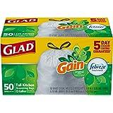 Glad OdorShield Tall Kitchen Drawstring Trash Bags - Gain Original with Febreze Freshness - 13 Gallon - 50 Count