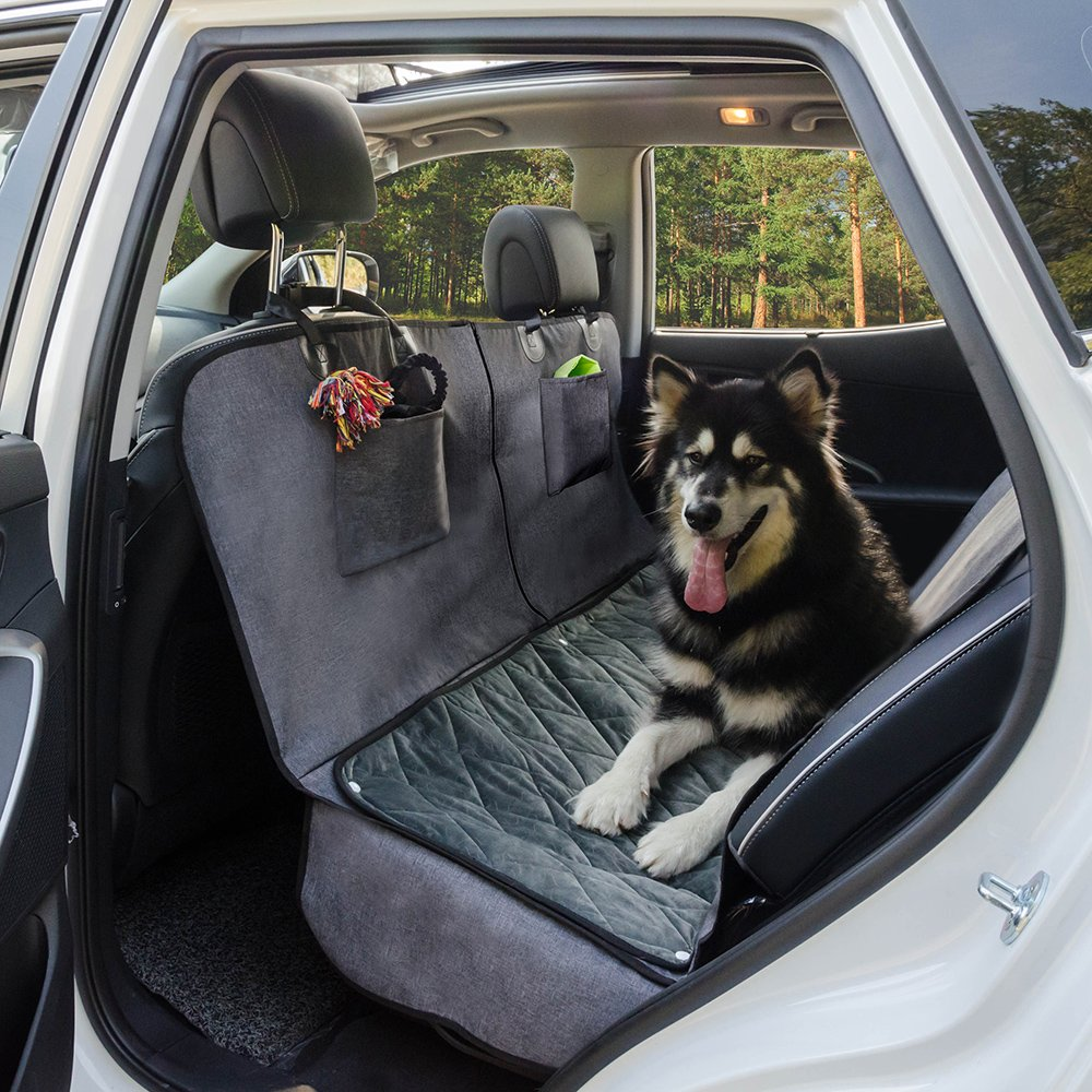 Dog Car Seat Cover with Deluxe Removable Velvet Seat Pad for Cars, Trucks, SUVs, Pet Car Seat Cover 100% Waterproof &Non-slip Backing &Hammock Convertible, 56''Wx62''L, Free Lint Roller Included-Gray