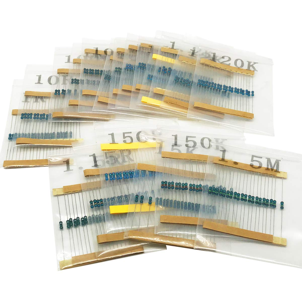 2600PCS 130 Values 1/% Resistor Kit 1 Ohm 1//4W Metal Film Resistors Assortment for DIY Electronic Projects and Experiments IRHAPSODY 3M Ohm