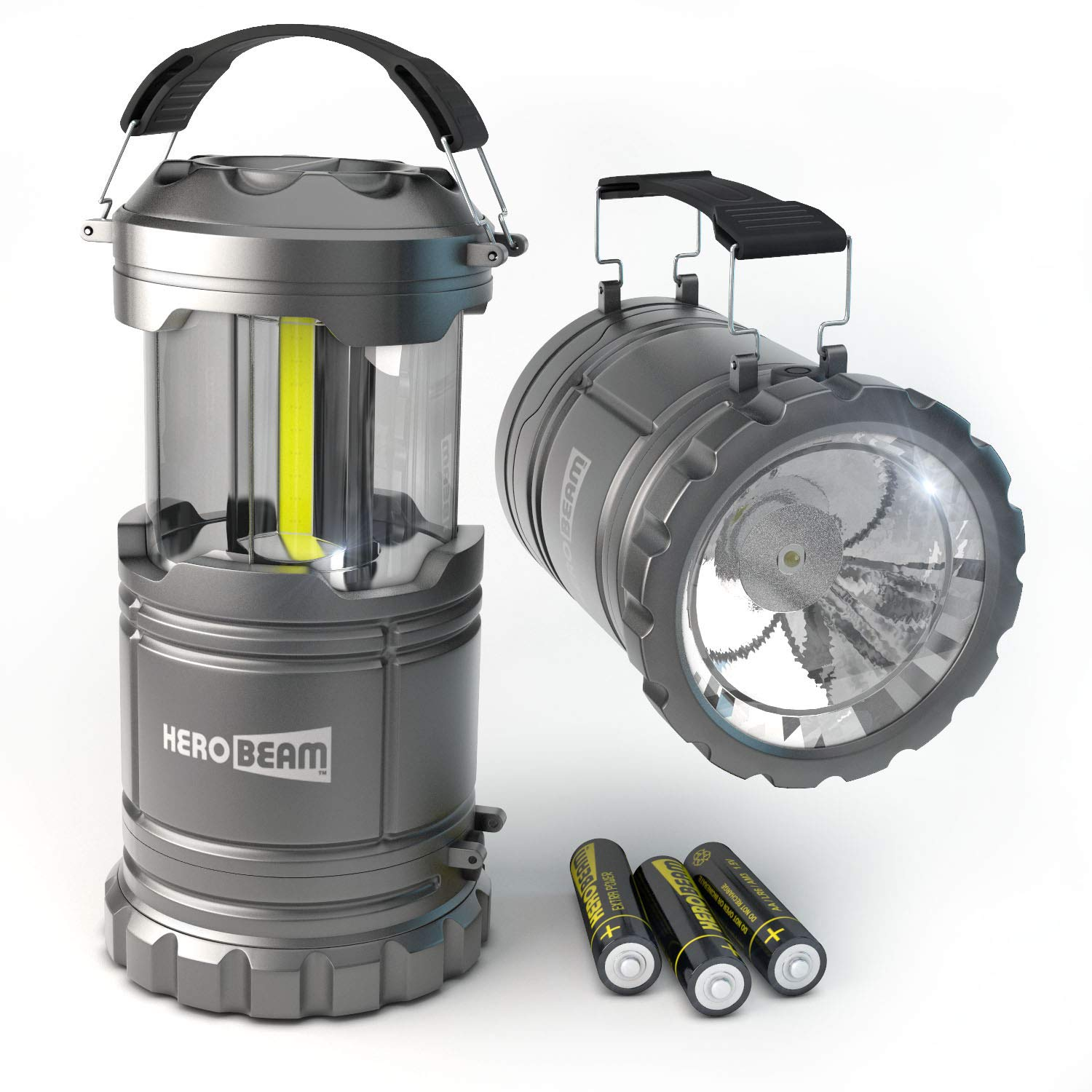 HeroBeam 2 x LED Lantern V2.0 with Flashlight - Latest COB Technology (350 LUMENS) - Collapsible Camp Lamp - Great Light for Camping, Car, Shop, Attic, Garage - 5 Year Warranty by HeroBeam