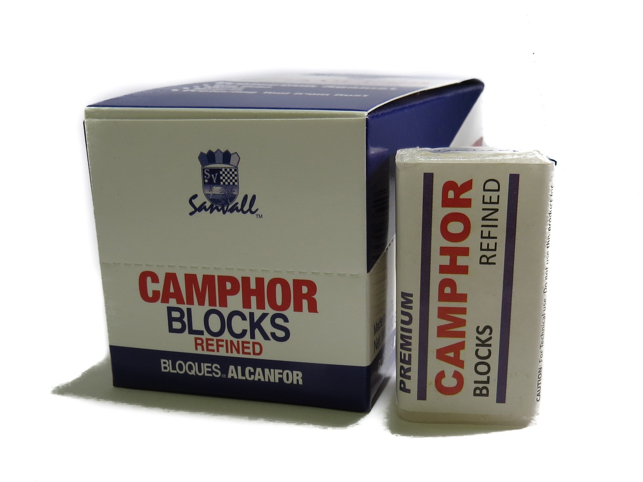 Box of Camphor 16 Blocks - 64 Tablets Premium Refined Camphor Sanvall - No Residue - Bed Bug - Tool Tarnish