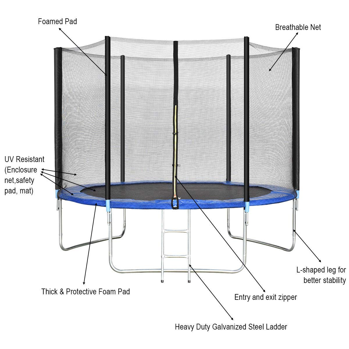 Giantex Trampoline Combo Bounce Jump Safety Enclosure Net W/Spring Pad Ladder (10 FT) by Giantex (Image #4)