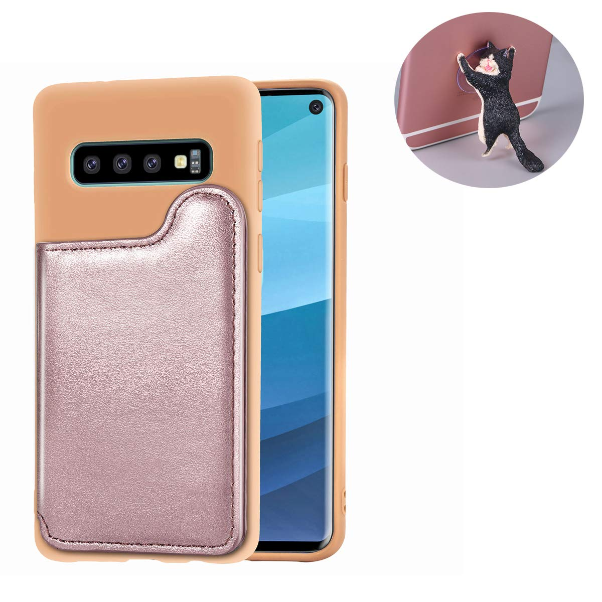 Bogumil Galaxy S10e Wallet Case, PU Leather Samsung S10e Case with Credit Card Holders Double Magnetic Buttons Flip Shockproof Protective Cover Compatible Samsung Galaxy S10e (Rose Gold)