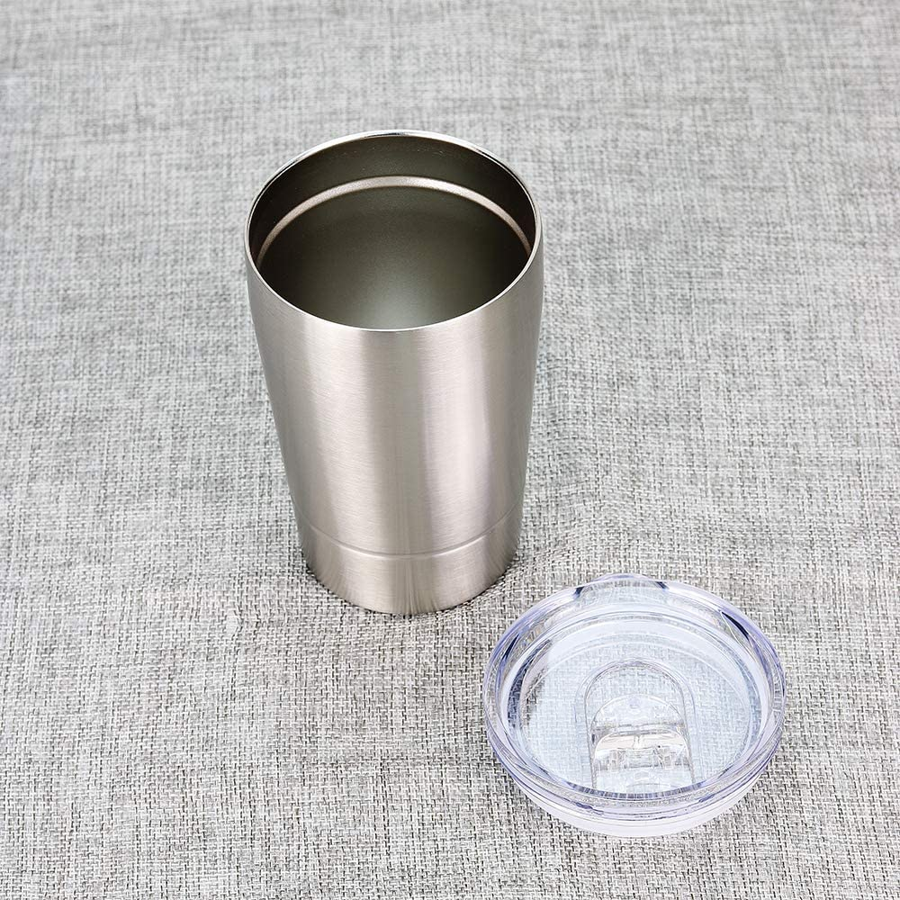 Colorful PoPo Kids Sippy Cup Insulated Tumbler with Lid Silver, 12 Oz Double Wall Stainless Steel