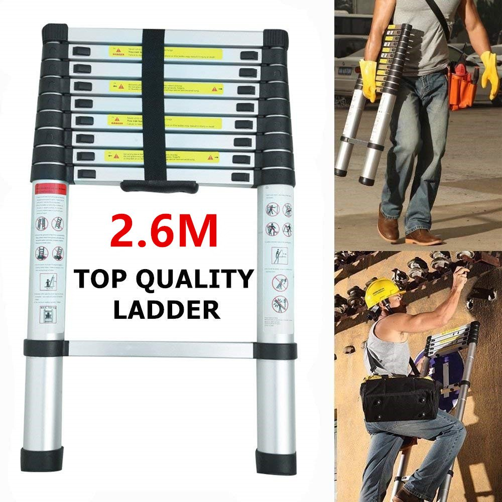 3.8M Telescopic Ladder Aluminum DIY Foldable Extendable Single Straight Multi Purpose Ladder Blackpoolal