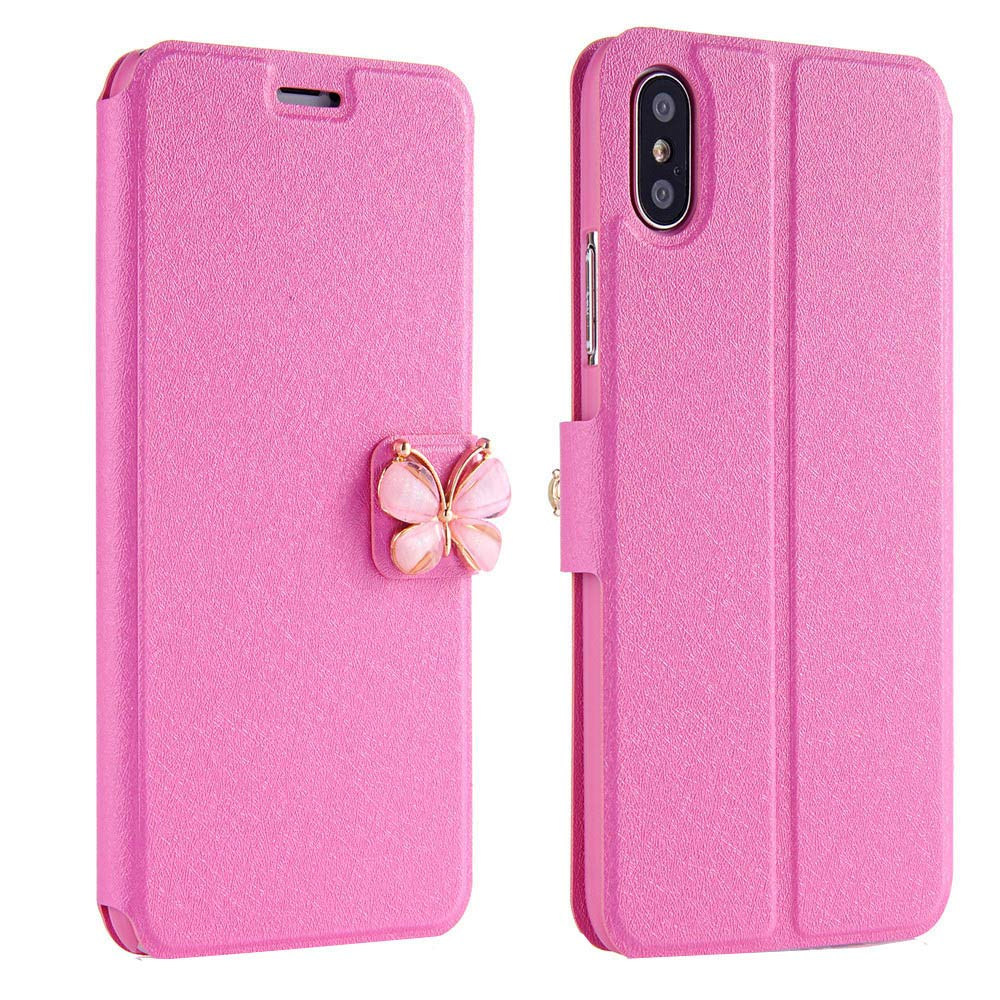 Women Girls Flip Case Cover Leather Wallet Magnetic Case Cover Skin for iPhone Xs 5.8inch/Max 6.5inch/XR 6.1inch (iPhone Xs 5.8inch, Hot Pink)