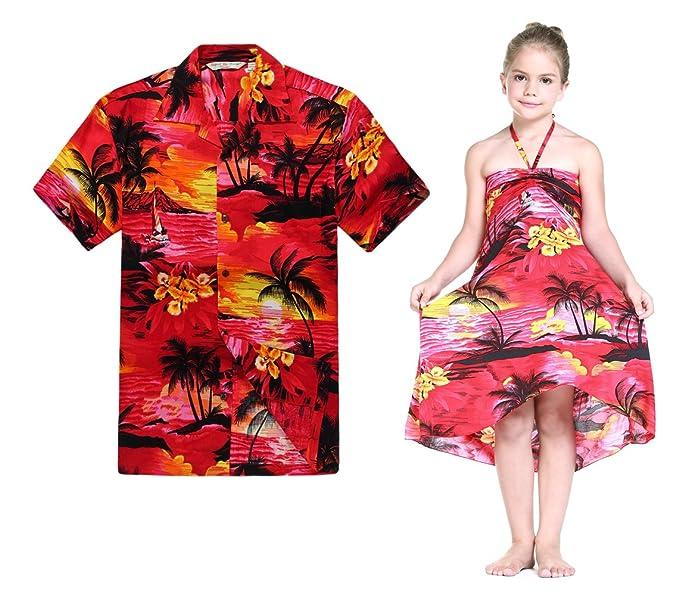 36f555be8 Combinación Hawaiana Luau Outfit Hombre Camisa Chica Vestido en Puesta de Sol  roja  Amazon.es  Ropa y accesorios