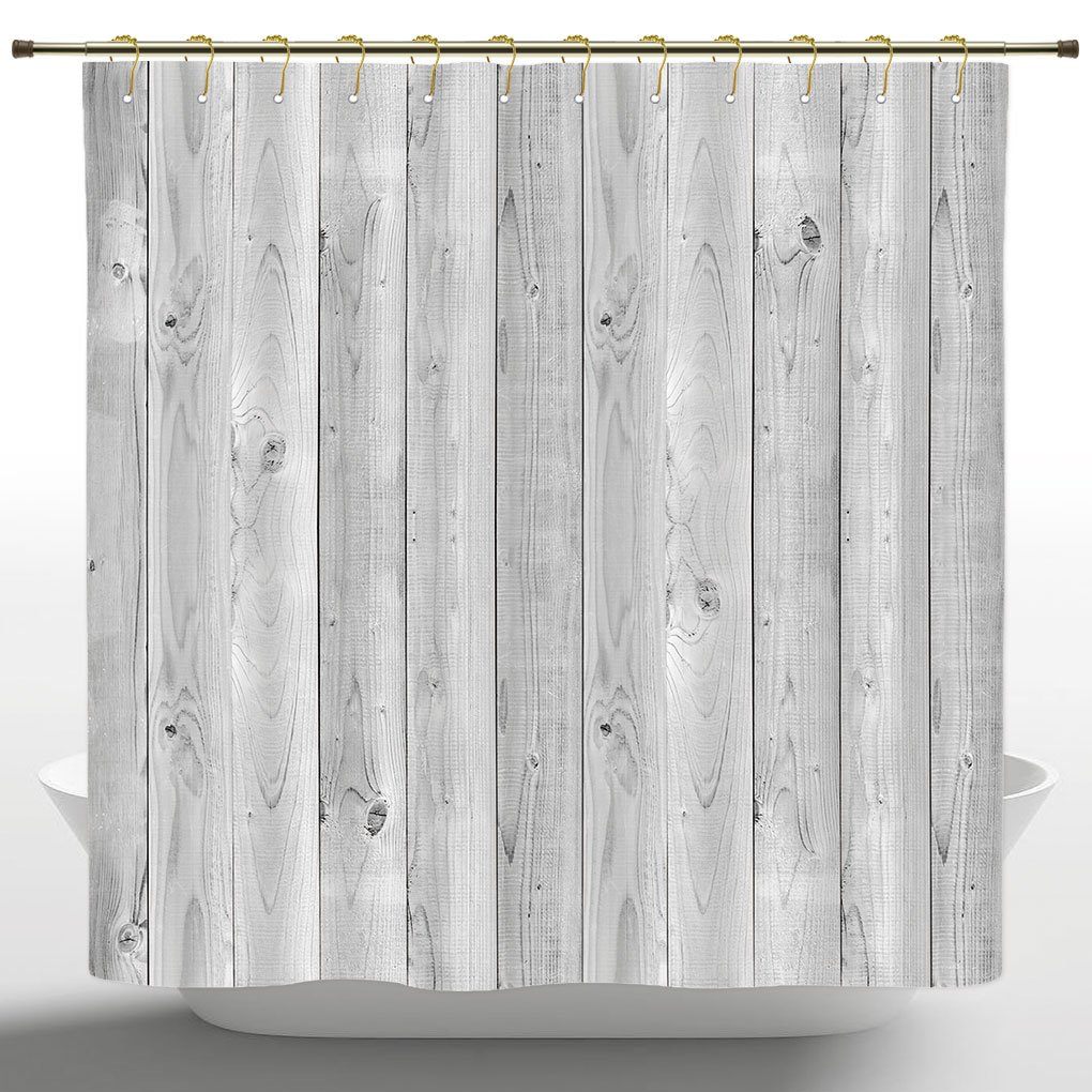 Mildew Resistant Shower Curtain by iPrint,Grey Decor Collection,Picture of Smooth Oak Wood Texture in Old Fashion Retro Style Horizontal Nature Design Home Print,Gray,Bathroom Accessories,72W X 72L In by iPrint (Image #1)